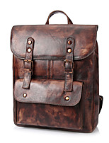 Men Bags All Seasons Cowhide Backpack Buttons for Casual Formal Coffee