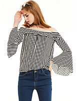 Women's Casual/Daily Work Simple Street chic Spring Fall Shirt,Striped Boat Neck 3/4 Length Sleeves Polyester Medium