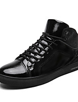 Men's Shoes Patent Leather Fall Comfort Sneakers Lace-up For Casual Outdoor Black