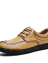 Men's Shoes Cowhide Leatherette Spring Fall Comfort Sneakers Split Joint For Casual Khaki Brown Black