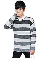Men's Casual/Daily Regular Pullover,Striped Round Neck Long Sleeves Cotton Fall Winter Medium Micro-elastic