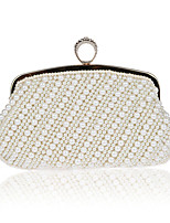 Women Bags All Seasons ABS+PC Evening Bag Pearl Detailing for Event/Party Formal Champagne Black Beige