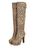 Femme Chaussures Flocage Automne Hiver Bottes à la Mode Confort Nouveauté Bottes Gros Talon Bout rond Cuissardes Pour Habillé Noir Marron