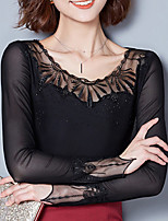 Damen Solide Einfach Ausgehen Lässig/Alltäglich T-shirt,Rundhalsausschnitt Herbst Winter Langarm Polyester Mittel