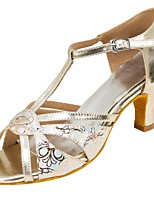 Women's Latin Leatherette Sandal Heel Professional Buckle Customized Heel Gold 1