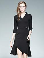 Damen Bodycon Kleid-Lässig/Alltäglich Ausgehen Street Schick Solide V-Ausschnitt Asymmetrisch 3/4 Ärmel Baumwolle Polyester Herbst Hohe