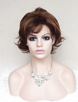 Women Synthetic Wig Capless Short Wavy Natural Wave Dark Auburn Bob Haircut With Bangs Party Wig Natural Wigs Costume Wig