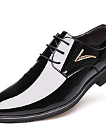 Men's Shoes Synthetic Leatherette Fall Winter Comfort Formal Shoes Oxfords Flat Heel Pointed Toe Lace-up For Casual Office & Career Black