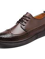 Men's Shoes PU Spring Fall Comfort Oxfords Lace-up For Casual Brown Black