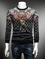 Men's Sports Sweatshirt Print Round Neck Micro-elastic Cotton Long Sleeve Fall