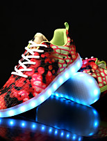 Women's Shoes Canvas Fall Winter Light Up Shoes Comfort Sneakers Flat Heel Round Toe With Animal Print LED Lace-up For Casual Party &