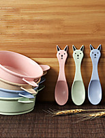 Cute Big Ear Rabbit Children's Anti-hot Bowl Dinnerware Sets Random Color