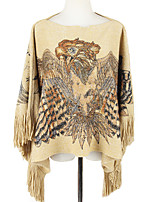 Women Vintage Cloak Cape Bohemian Tassels Fringed Shawl Wrap Scarf Wool Acrylic Rectangle Eagle Print Spring Fall Top Khaki/Grey