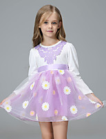 Menina de Vestido Regresso à Escola Casual Férias Floral Todas as Estações Algodão Acrílico Manga Longa