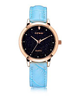 Women's Fashion Watch Quartz Genuine Leather Band Black White Blue Red Brown Purple