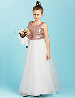 A-Line Jewel Neck Floor Length Organza Sequined Junior Bridesmaid Dress with Flower(s) Pearl Detailing by LAN TING BRIDE®