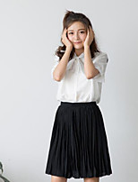 Women's Casual/Daily Simple Shirt,Solid Shirt Collar Half Sleeves Cotton Others