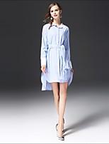Для женщин На выход На каждый день Простое Свободный силуэт Платье Полоски,Рубашечный воротник Ассиметричное Длинный рукав Хлопок Другое
