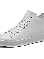 Men's Shoes PU Spring Fall Comfort Light Soles Sneakers Lace-up For Casual Black White