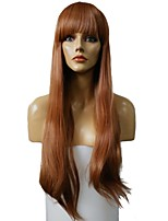 Women Synthetic Wig Capless Very Long Straight Brown/Burgundy Highlighted/Balayage Hair With Bangs Party Wig Celebrity Wig Halloween Wig
