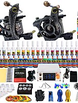 Starter Tattoo Kit 2 alloy machine liner & shader LCD power supply 40 × 5ml Tattoo Ink 2 x aluminum grip Complete Kit