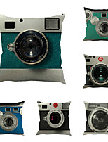 Set Of 6 Retro 3D Camera Printing Pillow Case Square Sofa Cushion Cover Personality Pillow Cover
