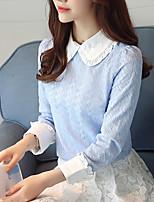 Tee-shirt Femme,Couleur Pleine Décontracté / Quotidien Travail simple Printemps Automne Manches Longues Col de Chemise Polyester Fin
