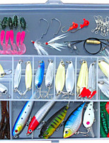52 pcs Shad Grub Soft Jerkbaits Metal Bait Hard Bait Soft Bait Jigs Spoons Minnow Crank Pencil Popper Vibration/VIB Lure Packs g/Ounce mm