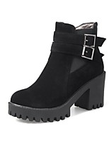Women's Shoes Nubuck leather Fall Winter Comfort Boots Chunky Heel Round Toe Buckle Zipper For Outdoor Office & Career Gray Black