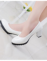 Women's Shoes PU Summer Basic Pump Heels Chunky Heel Round Toe For Casual Beige Black White