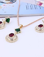 Women's Fashion Simple Style Cubic Zirconia Rhinestone Earrings Necklace For Wedding Daily Wedding Gifts