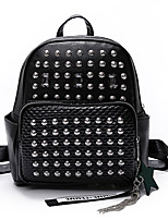 Women Bags All Seasons PU Backpack Beading for Casual Outdoor Black