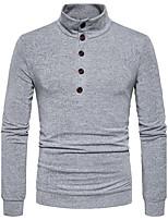 Men's Casual/Daily Regular Pullover,Solid V Neck Long Sleeves Cotton Fall Winter Medium Micro-elastic