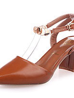 Women's Shoes PU Summer Comfort Heels Chunky Heel Pointed Toe Buckle For Casual Brown Beige Black