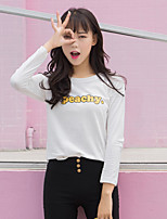 Women's Going out Cute T-shirt,Solid Letter Round Neck Long Sleeves Cotton