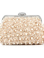 Women Bags All Seasons Polyester Evening Bag Beading for Wedding Event/Party Champagne White Black
