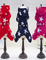 Dog Clothes/Jumpsuit Dog Clothes Casual/Daily Keep Warm Stars Blue Red Fuchsia