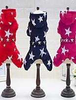 Cachorro Macacão Roupas para Cães Casual Mantenha Quente Estrelas Fúcsia Vermelho Azul