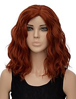 Women Synthetic Wig Capless Short Water Wave Orange Halloween Wig Costume Wig