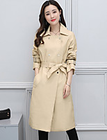 Women's Casual/Daily Simple Spring Fall Trench Coat,Solid Shirt Collar Long Sleeve Long Polyester