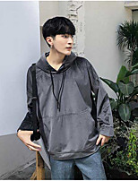 Men's Casual/Daily Hoodie Solid Hooded Micro-elastic Cotton Polyester Long Sleeve Fall
