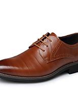 Masculino sapatos Pele Outono Inverno Sapatos formais Oxfords Cadarço Para Casual Festas & Noite Preto Marron Azul