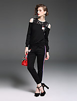 YIYEXINXIANG Women's Going out Casual/Daily Simple Fall T-shirt Pant Suits,Solid Round Neck Long Sleeve Stretchy