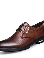 Men's Shoes Real Leather Cowhide Nappa Leather Spring Fall Formal Shoes Oxfords Lace-up For Casual Office & Career Brown Black