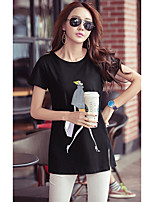 Women's Going out Cute Summer T-shirt,Print Round Neck Short Sleeves Cotton Opaque