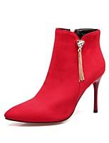 Для женщин Обувь Нубук Осень Зима Удобная обувь Ботинки На шпильке Заостренный носок Стразы Молнии Назначение Черный Красный Зеленый