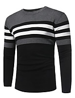 Men's Going out Casual/Daily Simple Street chic Regular Pullover,Solid Striped Color Block Round Neck Long Sleeves Cashmere Cotton Fall