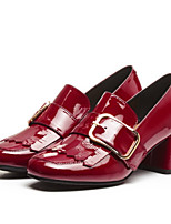 Women's Shoes Patent Leather Spring Fall Comfort Heels Chunky Heel For Casual Black Red