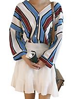 Tee-shirt Femme,Couleur Pleine Sortie Décontracté / Quotidien Sexy simple Manches Longues Col en V Polyester