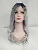 Women Synthetic Wig Capless Long Wavy Black/Grey Ombre Hair Dark Roots Natural Wigs Costume Wig